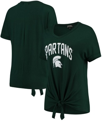 Women's Green Michigan State Spartans On A Break V-Neck Knot T-Shirt