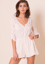 Missy Empire Sadie Nude Long Sleeved Button Up Playsuit