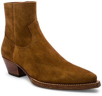 Saint Laurent Lukas 40 Zip Boot in Hazelnut | FWRD