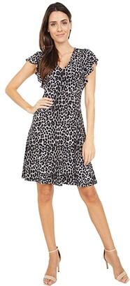 MICHAEL Michael Kors Mega Cheetah Seamed Dress (Gunmetal) Women's Dress