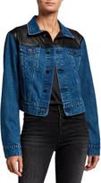 LAMARQUE Karly Cropped Denim Jacket w/ Leather