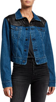 LAMARQUE Karly Cropped Denim Jacket w/ Leather