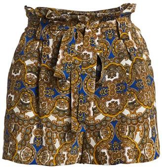L'Agence Alex Paperbag Silk Shorts