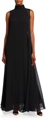 Badgley Mischka High-Neck Georgette Cape Dress