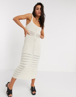 Emory Park midi dress with button down front in crochet