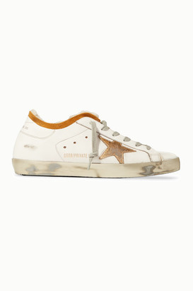 Golden Goose Superstar Shearling-lined Distressed Leather Sneakers - White