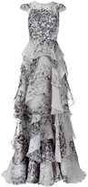 Christian Siriano printed ruffled gown