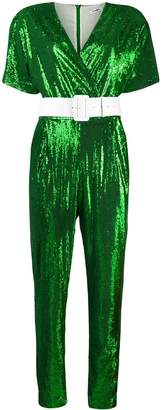 P.A.R.O.S.H. Belted Sequin-Embellished Jumpsuit