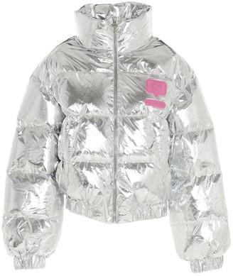 Chiara Ferragni Logo Patch Cropped Puffer Jacket