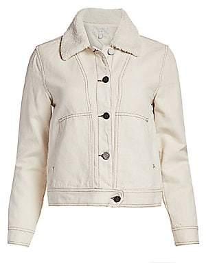 Joie Women's Lev Faux Fur Collar Denim Jacket