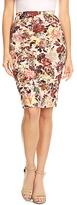 Beige Floral Pencil Skirt - Plus Too