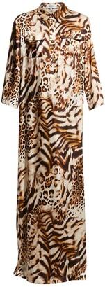 Rickie Freeman For Teri Jon Animal-Print Charmeuse Shirt Gown