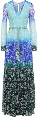 Peter Pilotto Tasseled Floral-print Degrade Silk-georgette Gown