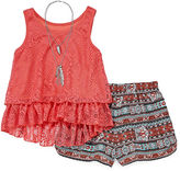 Knitworks Knit Works Crochet Tank, Necklace and Short Set- Girls 7-16