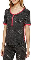 Kensie XOXO Heart-Print Color Block Jersey Sleep Top