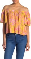 Lush Tropical Floral Off the Shoulder Top