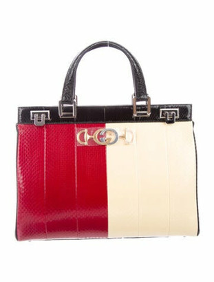 Gucci Zumi Python Medium Top Handle Bag w/ Tags Black