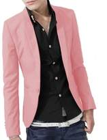 WenHong Korean Men Slim Fit Lapel Coat Casual One Button Blazer Suit Coat Tops