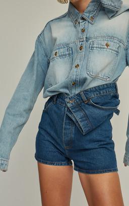 Y/Project Asymmetric Denim Shorts