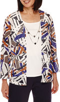 Alfred Dunner 3/4-Sleeve Abstract-Print Layered Top
