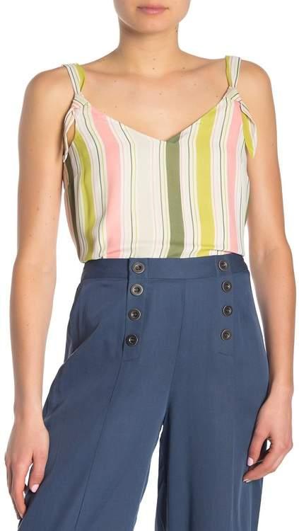 June & Hudson Stripe Georgette Knot Strap Tank Top