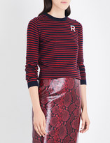 Rochas Logo-embroidered striped cashmere jumper