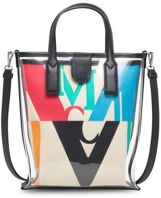 MCM Logo Glitch Transparent Top Handle Pouch