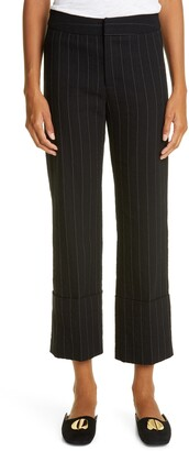 Smythe Pinstripe Cuffed Cotton & Wool Flood Pants