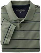 Charles Tyrwhitt Green and navy stripe pique polo