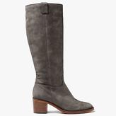 John Lewis Taiya Block Heeled Knee High Boots, Grey Nubuck