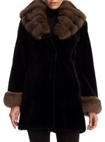 Gorski Sheared Mink Fur Stroller Coat with Sable Trim
