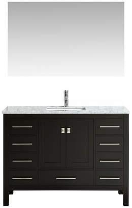 Carrera Eviva Aberdeen Transitional Bathroom Vanity w Countertop, Espresso,