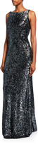 Naeem Khan Sleeveless Beaded Cowl-Back Gown