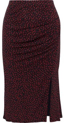 Diane von Furstenberg Willa Ruched Printed Stretch-mesh Pencil Skirt