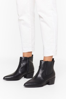 Nasty Gal Womens Point It Out Faux Leather Chelsea Boot - Black - 3
