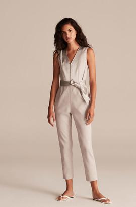 Rebecca Taylor Tailored Slub Twill Suiting Jumpsuit
