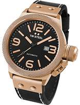TW Steel Canteen Men's Quartz Watch with Black Dial Chronograph Display and Black Leather Strap CS74