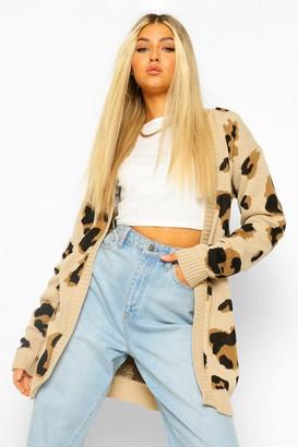 boohoo Tall Leopard Cardigan