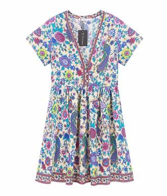 R.Vivimos Women's Summer Boho Floral Printed Sexy Deep V Neck Short Sleeve Mini Dress Vocation Dress (Small