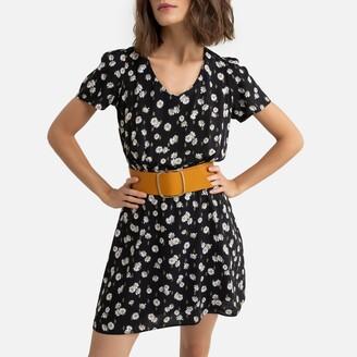 Naf Naf Floral Print Wrapover Dress with Short Sleeves