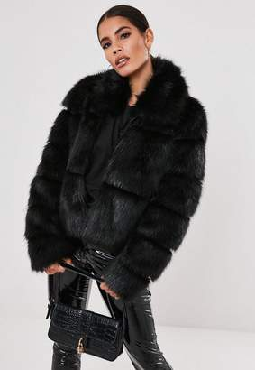 Missguided Black Faux Fur Pelted Coat