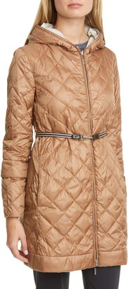 Max Mara Enovel Reversible Hooded Down Jacket with Detachable Cuffs
