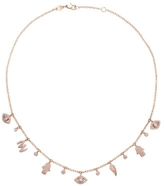 Netali Nissim Rose Gold and Diamond Charmed Necklace