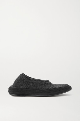 The Row Fairy Grosgrain And Suede-trimmed Cashmere Slippers - Anthracite