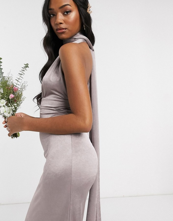 Thumbnail for your product : TFNC Bridesmaid multi way maxi dress in grey