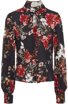 Nicholas Cutout Floral-print Silk-chiffon Blouse