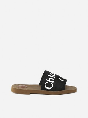 Chloé Woody Sandals In Cotton And Leather