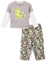 Buster Brown Heather Gray & Frost 'T-Rex' Tee & Pants - Infant