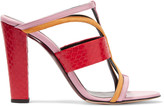 Oscar de la Renta Lonni color-block paneled leather mules