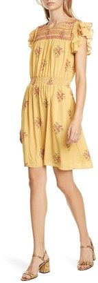 Dolan Palmer Flutter Sleeve Crepe Dress